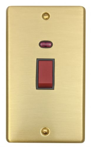 G&H CSB28B Standard Plate Satin Brushed Brass 45 Amp DP Cooker Switch & Neon Vertical Plate